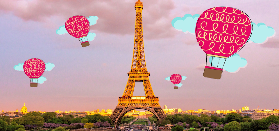 Hot air balloons over the Eiffel Tower