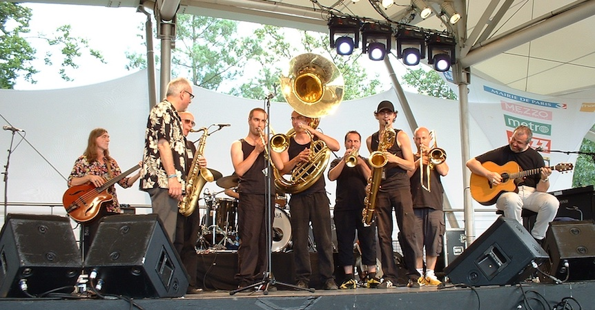 Brass performers at the Paris Jazz Festival