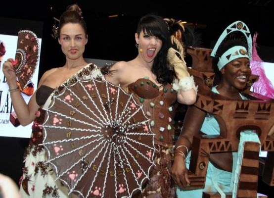 women dressed in chocolate dresses