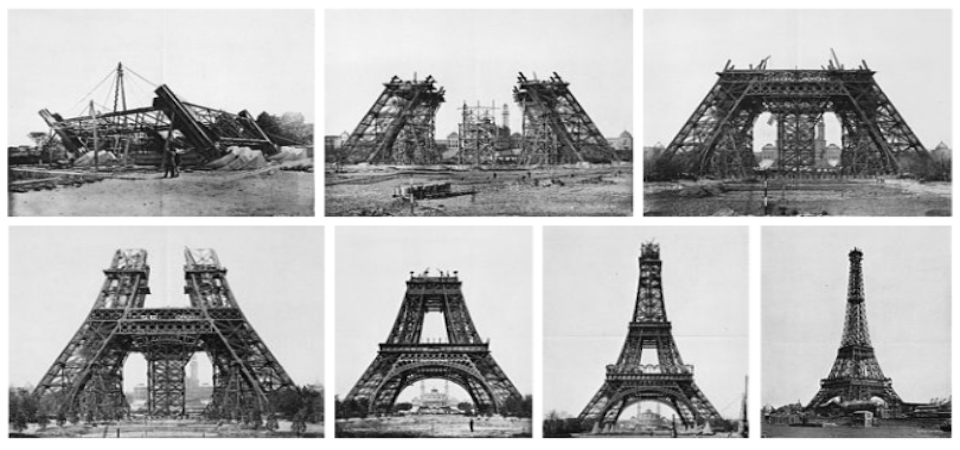 Gradual images of the construction of the Eiffel Tower