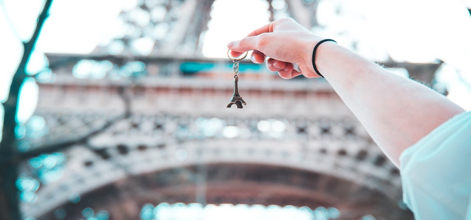 Eiffel Tower with miniature keyring in the forefront
