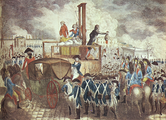 Drawing of the execution of Louis XVI and Marie Antoinette