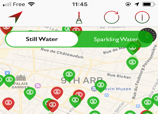 Map of water fountains in Paris