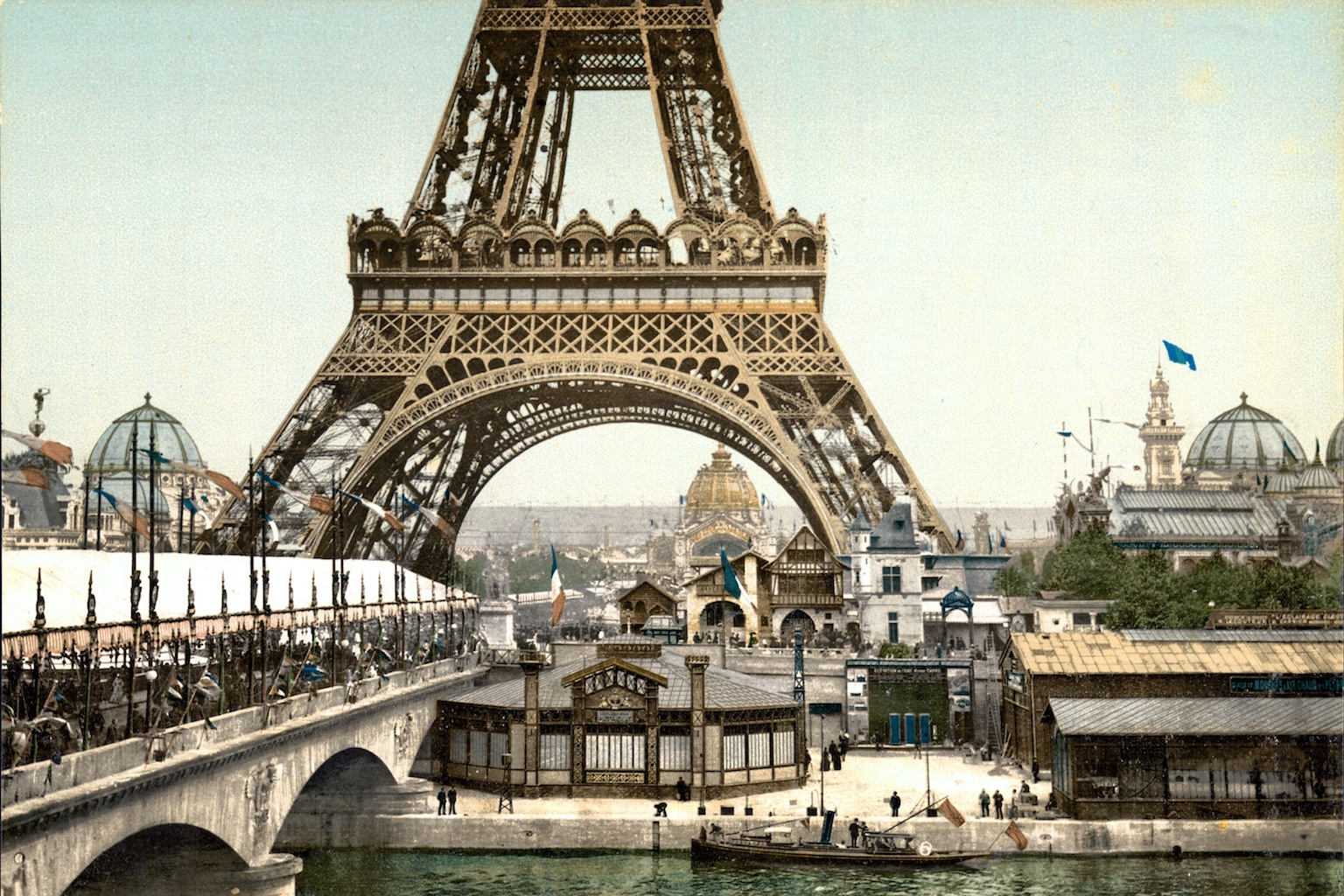 Poster featuring the Eiffel Tower as it appeared at the entrance to the Universal Exhibition, 1889