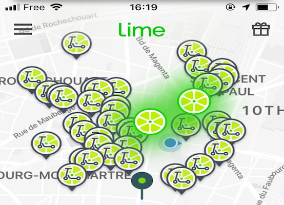 Lime Scooter app screenshot