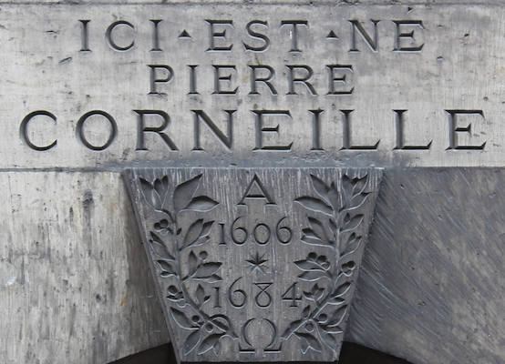 Plaque marking birthplace of Corneille in Rouen