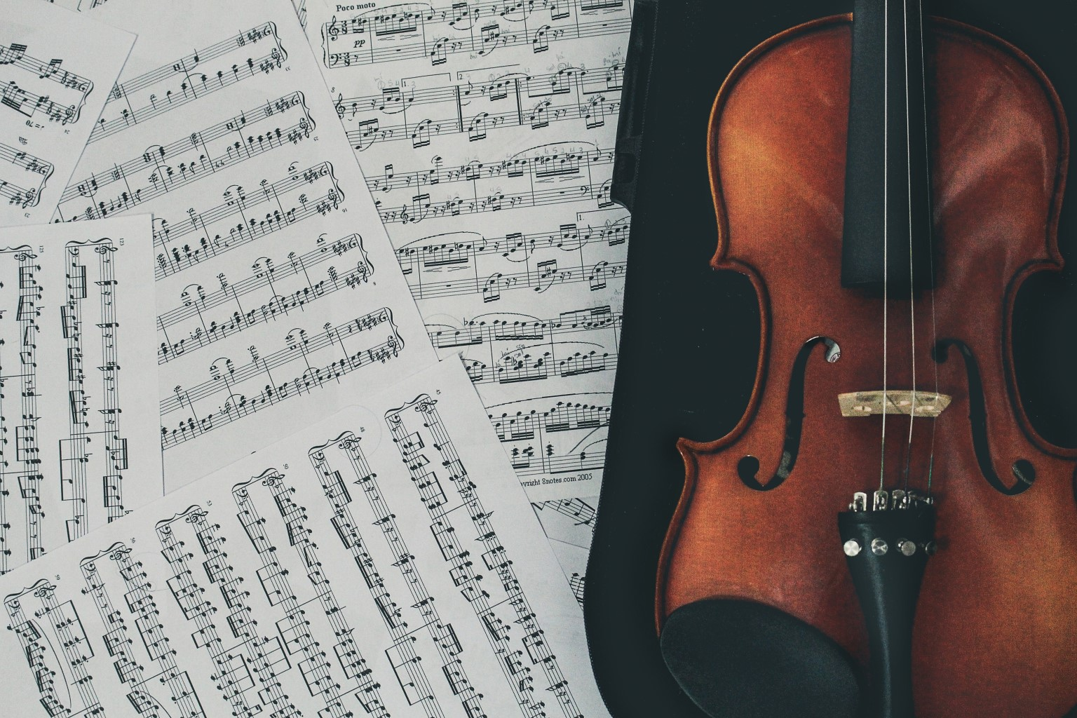 Music notes and a violin
