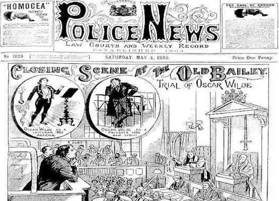 Newspaper covering Wilde's 'scandalous' trial